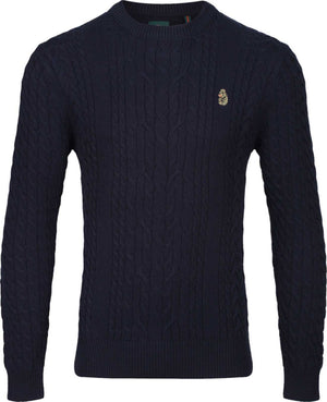 Luke 1977 Carter Johnson Cable Knit Jumper Navy