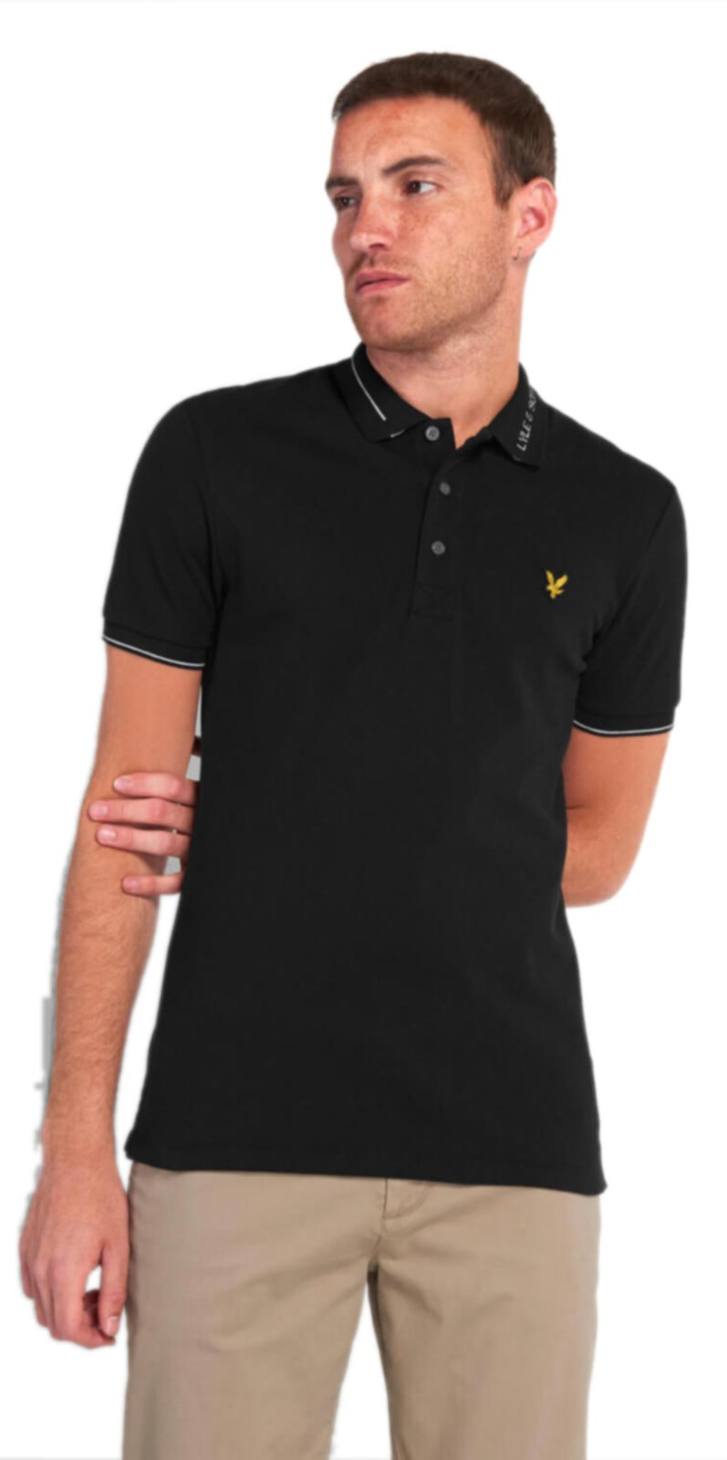 Lyle & Scott Branded Collar Polo Shirt Black