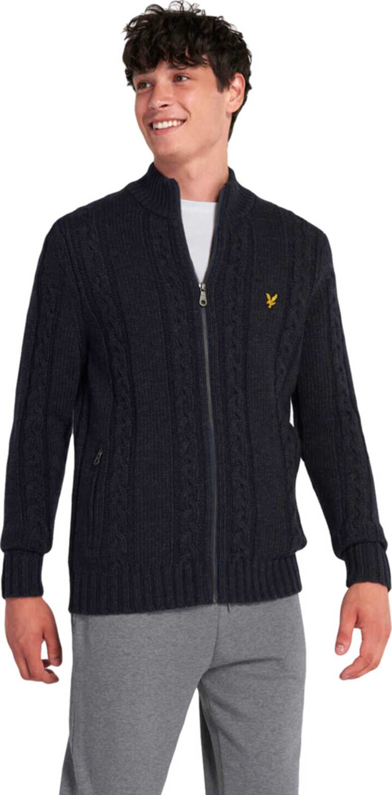 Lyle & Scott Cable Knit Zip Through Cardigan Navy