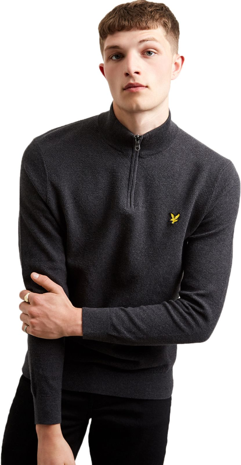 Lyle & Scott Moss Stitch 1/4 Zip Knit Jumper