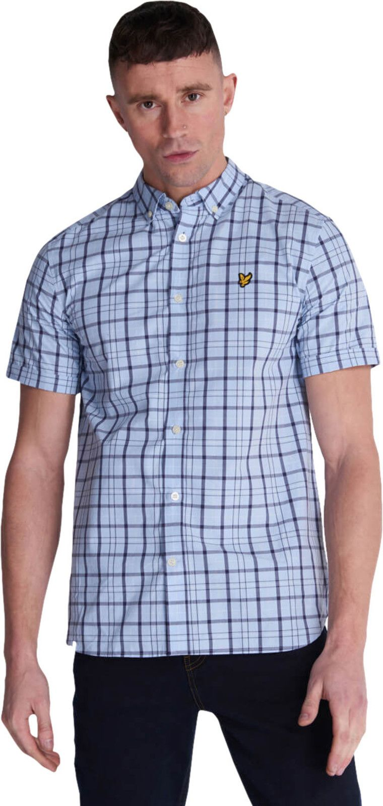 Lyle & Scott Short Sleeve Check Shirt Light Blue