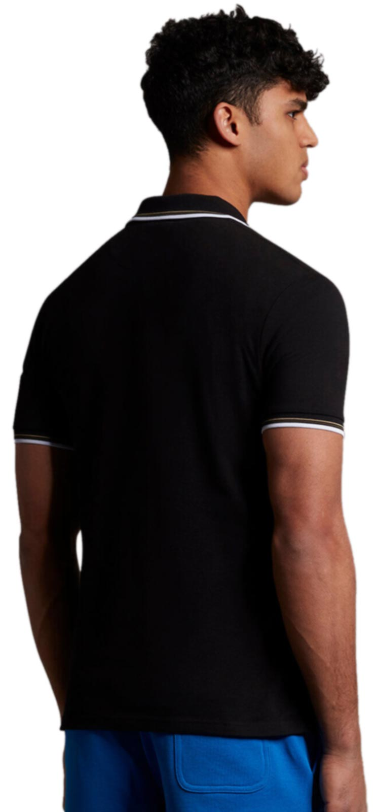 Lyle & Scott Tipped Polo Shirt SS21	Jet Black/White