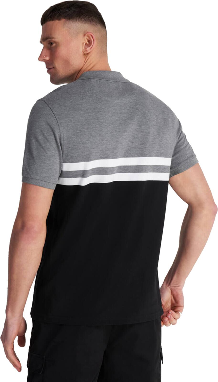 Lyle & Scott Yoke Stripe Polo Shirt Charcoal