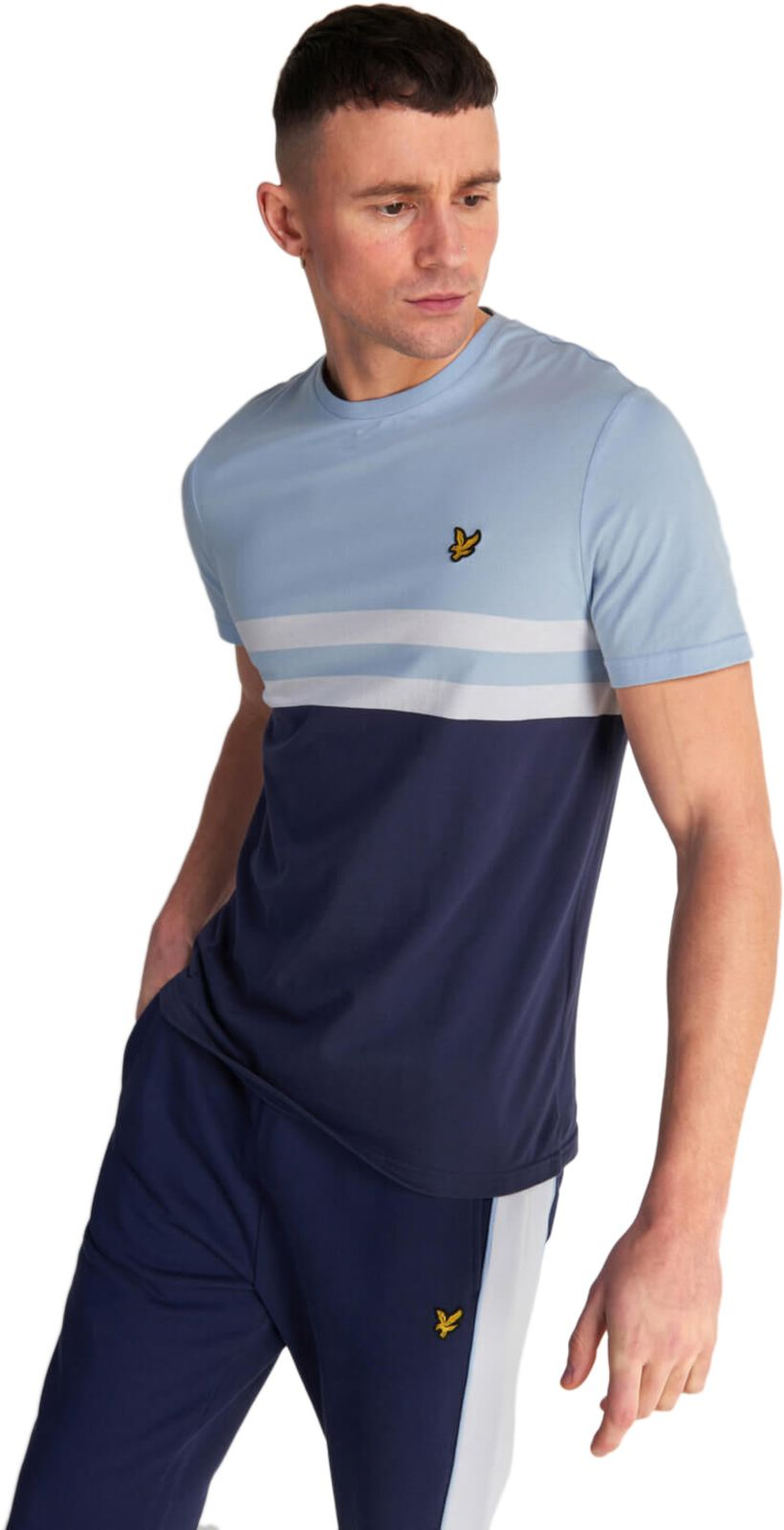 Lyle & Scott Yoke Stripe T-Shirt Blue