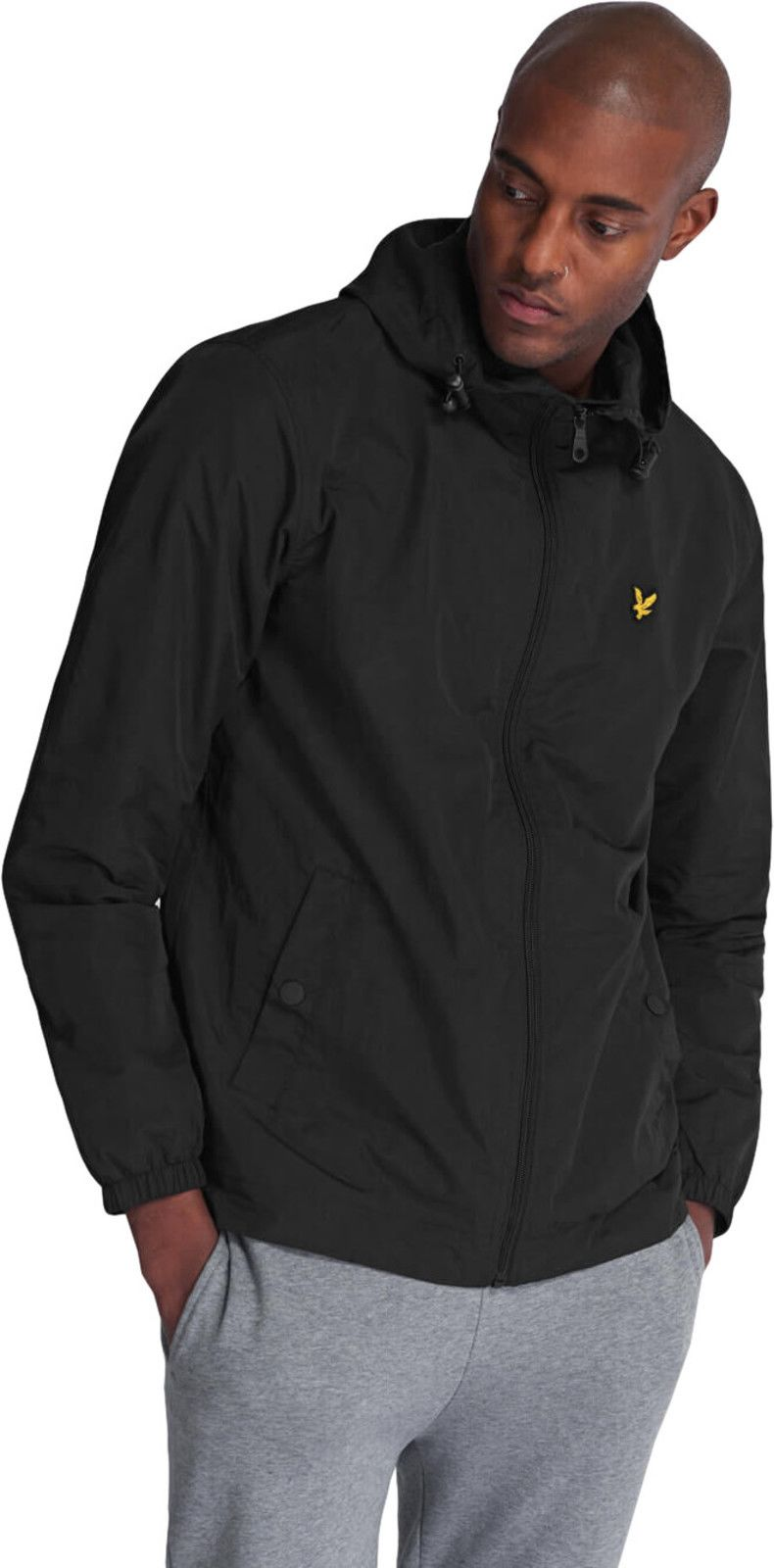 Lyle & Scott Zip Front Lightweight Hooded Jacket Black