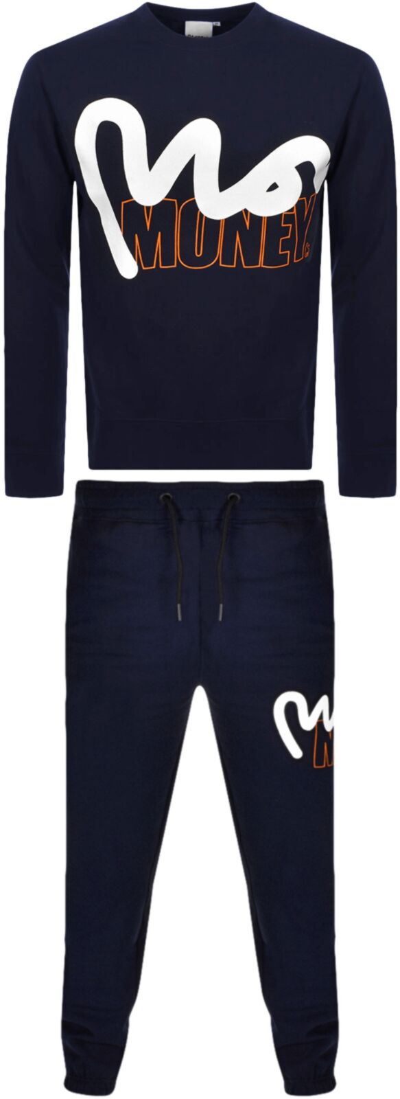 Money Stencil Block Crew Tracksuit Navy