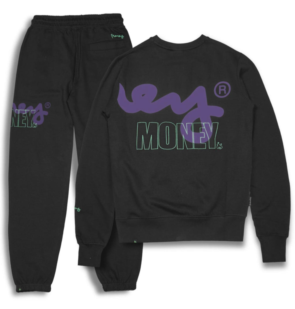 Money Stencil Logo Crew Neck Tracksuit	Black