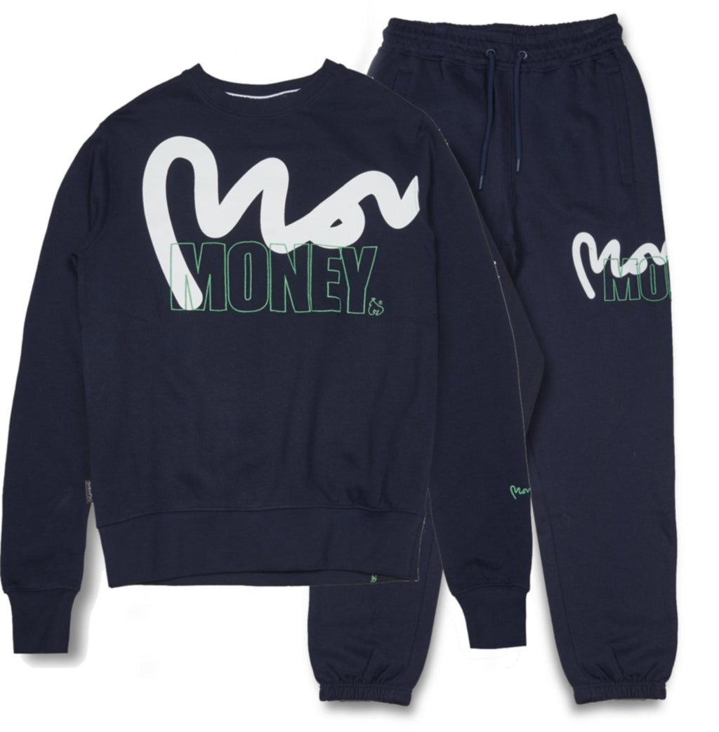 Money Stencil Logo Crew Neck Tracksuit	Navy