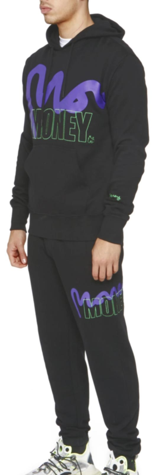 Money Stencil Logo Hooded Tracksuit	Black