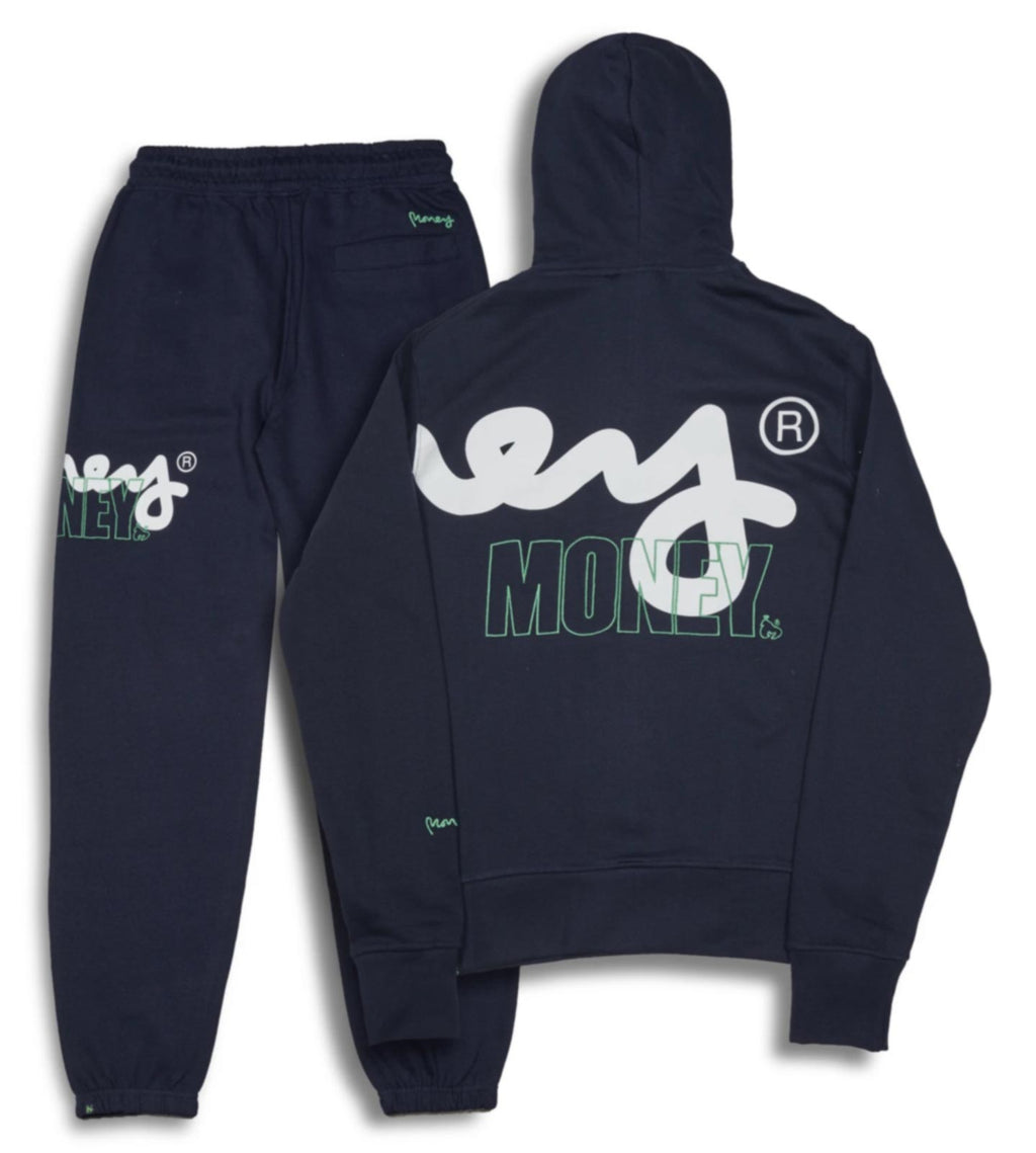 Money Stencil Logo Hooded Tracksuit	Navy