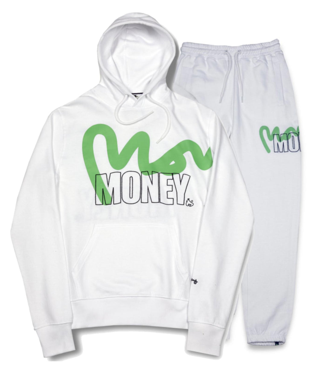 Money Stencil Logo Hooded Tracksuit	White