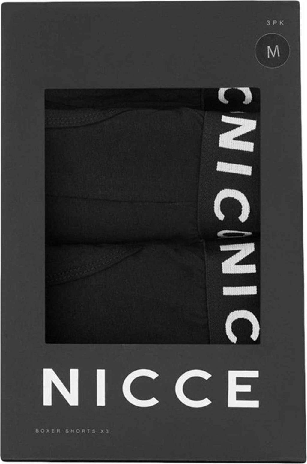 NICCE Cubar 3 Pack Trunk Boxer Shorts Black