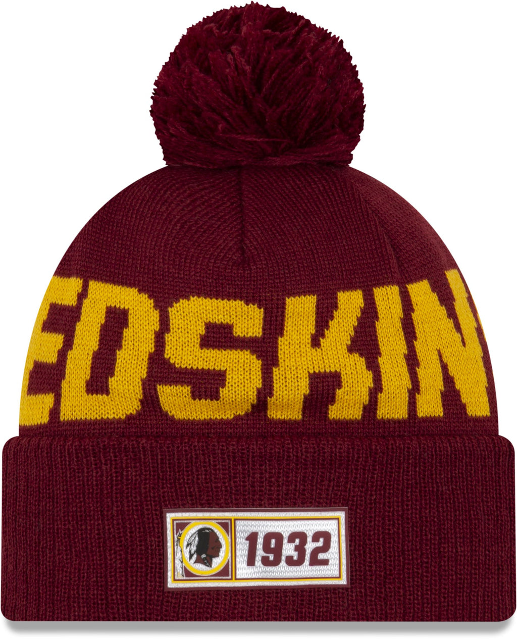 New Era ONF19 Cold Weather Washington Redskins Bobble Beanie Hat Burgundy