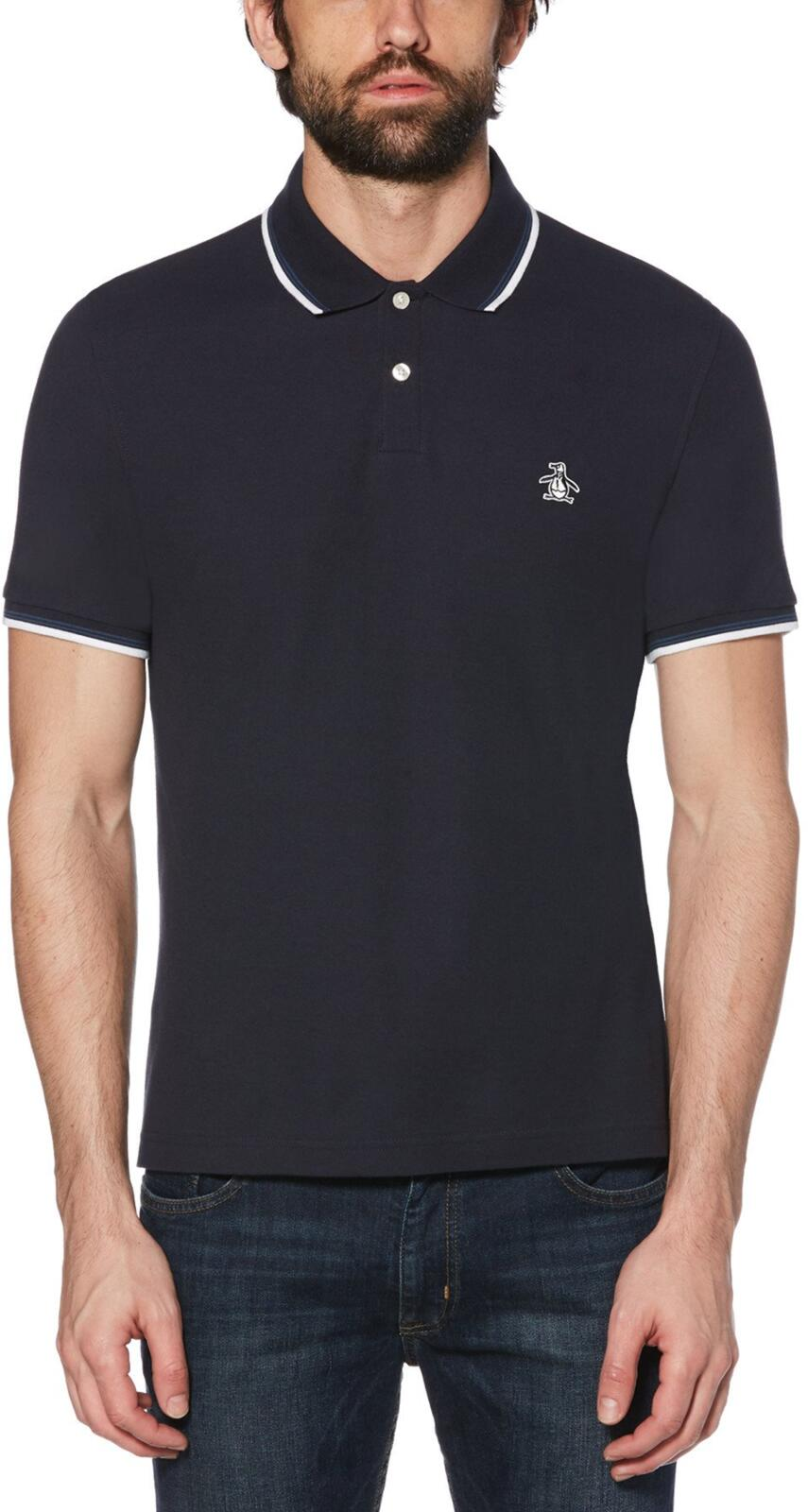 Original Penguin Sticker Pete Tipped Pique Polo Shirt Navy