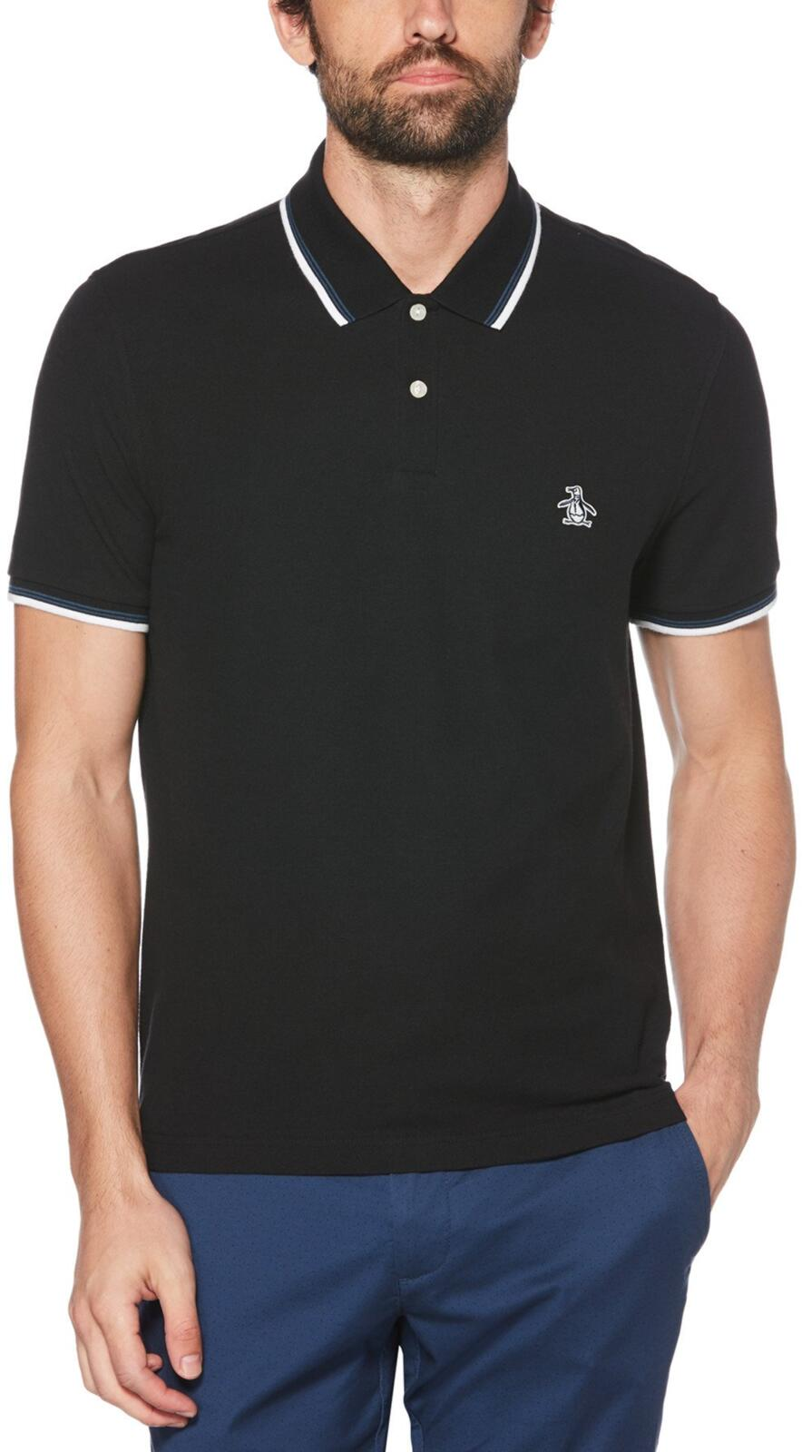 Original Penguin Sticker Pete Tipped Pique Polo Shirt Black