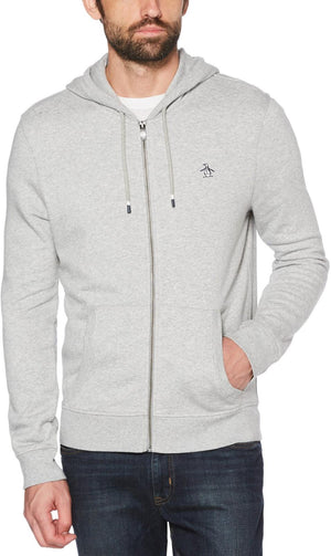 Original Penguin Sticker Pete Zip Hoodie Grey