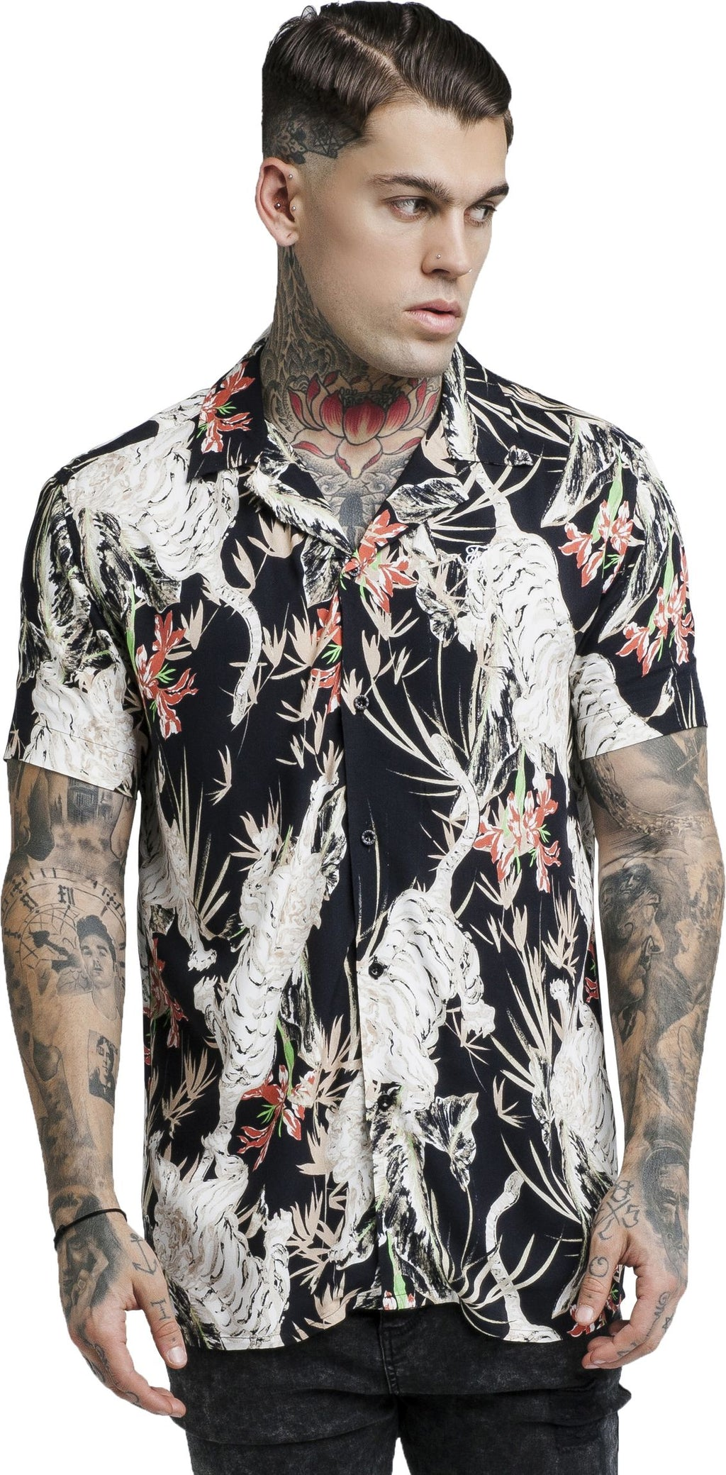 Sik Silk Black Lion Resort Short Sleeve Shirt