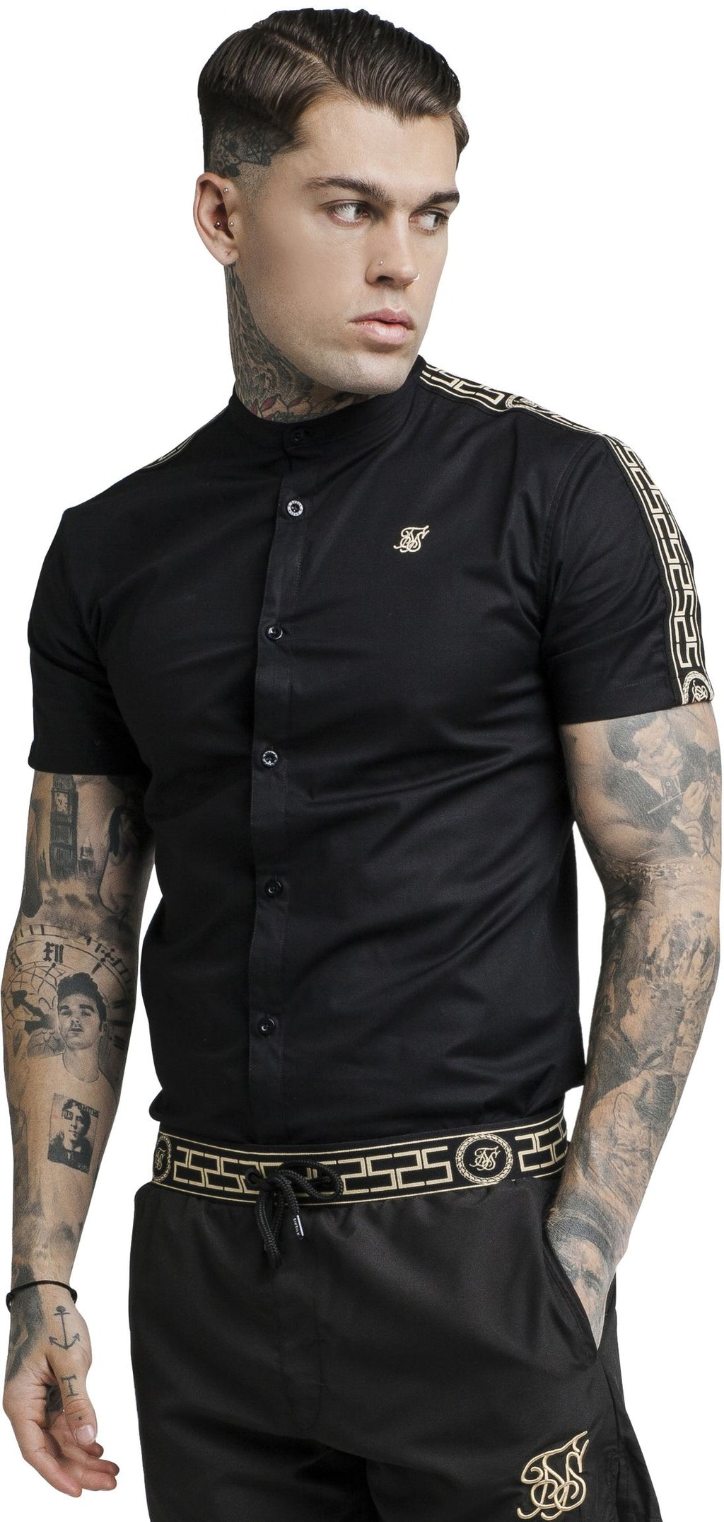 Sik Silk Cartel Grandad Collar Short Sleeve Shirt