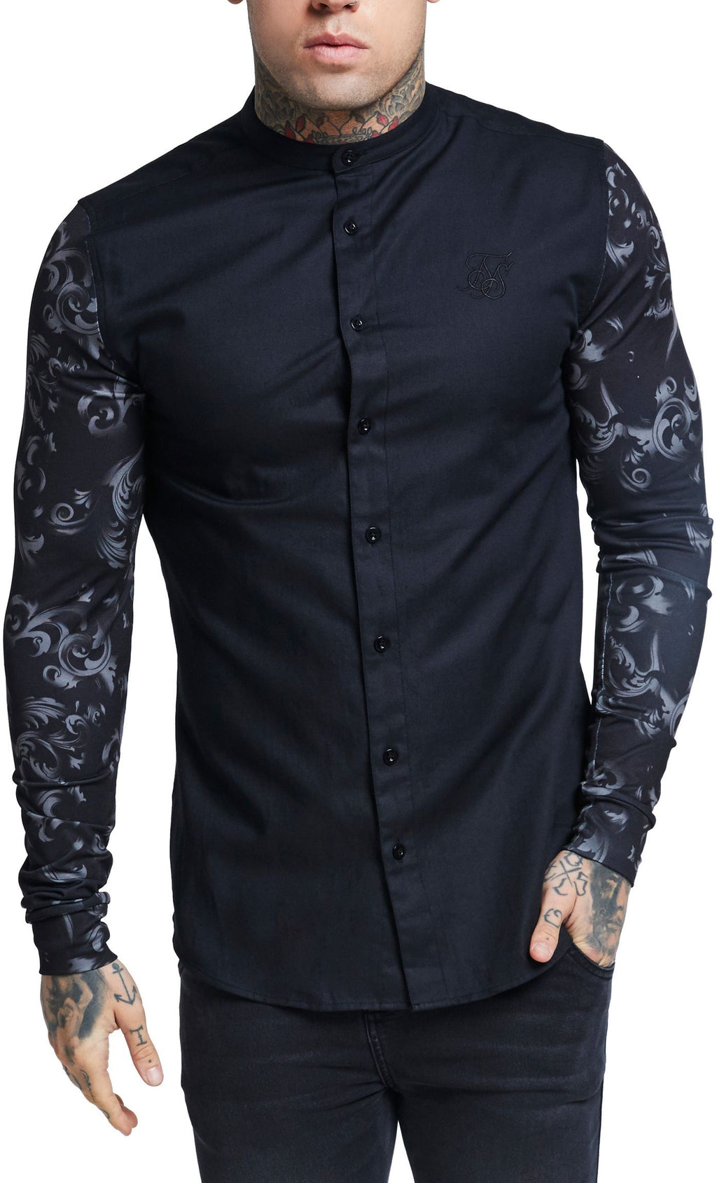 Sik Silk Contrast Oxford Long Sleeve Shirt Black/Venetian Black