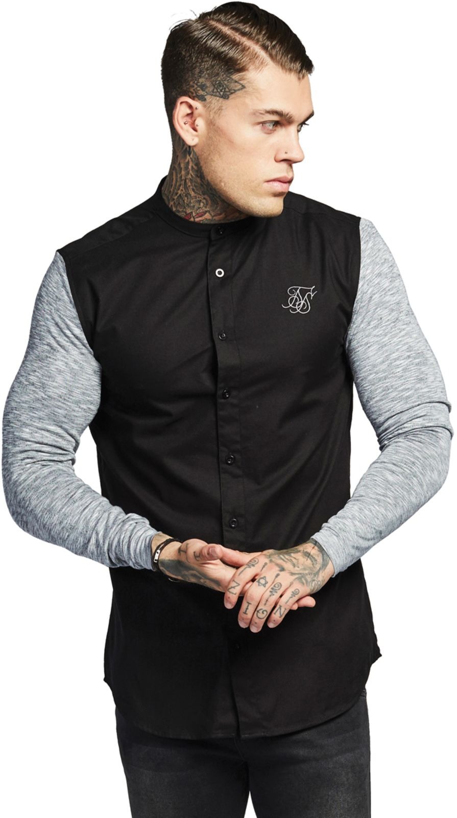 Sik Silk Contrast Oxford Long Sleeve Shirt