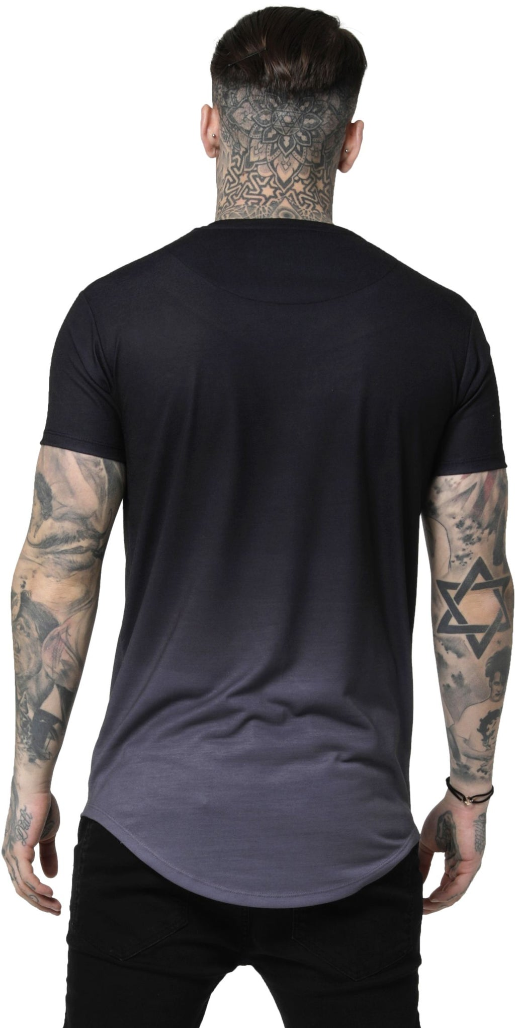 Sik Silk Curved Hem Fade T-Shirt Black/Grey