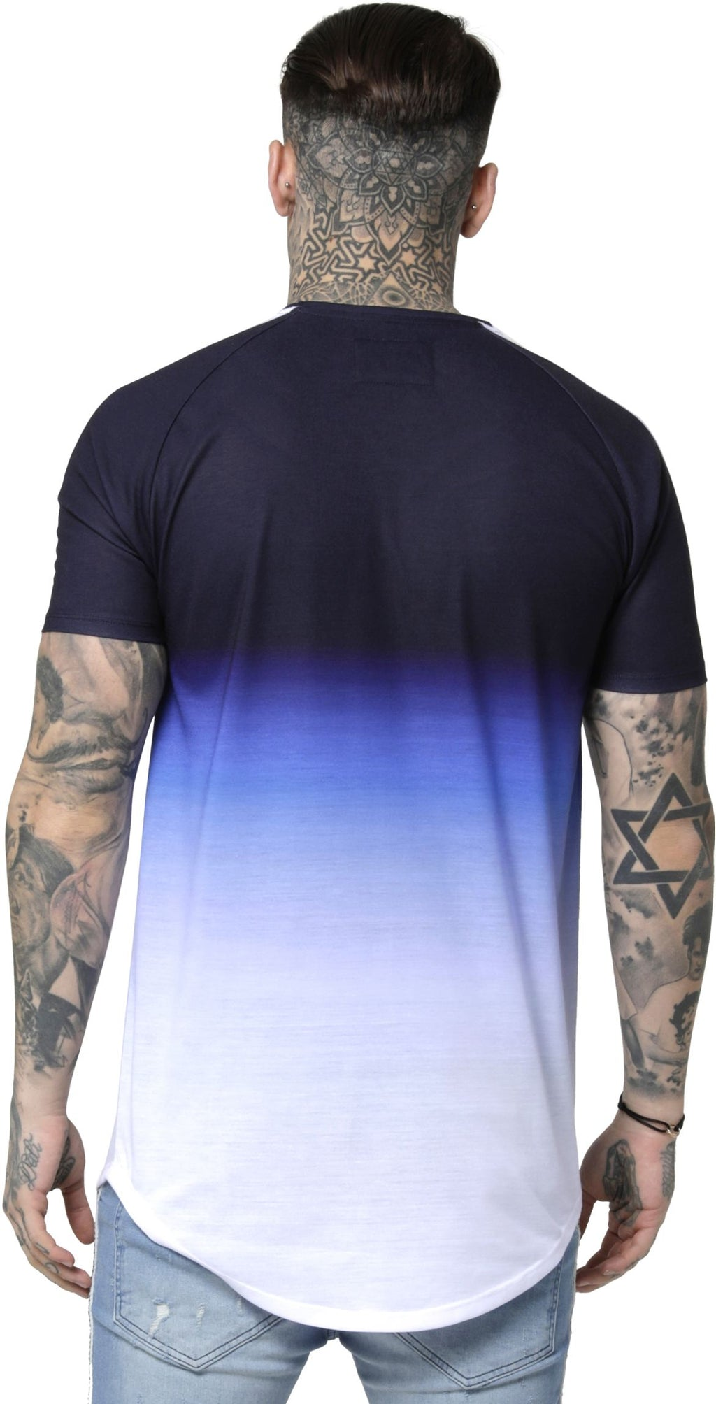 Sik-Silk-Curved-Hem-Fade-T-Shirt-Blue