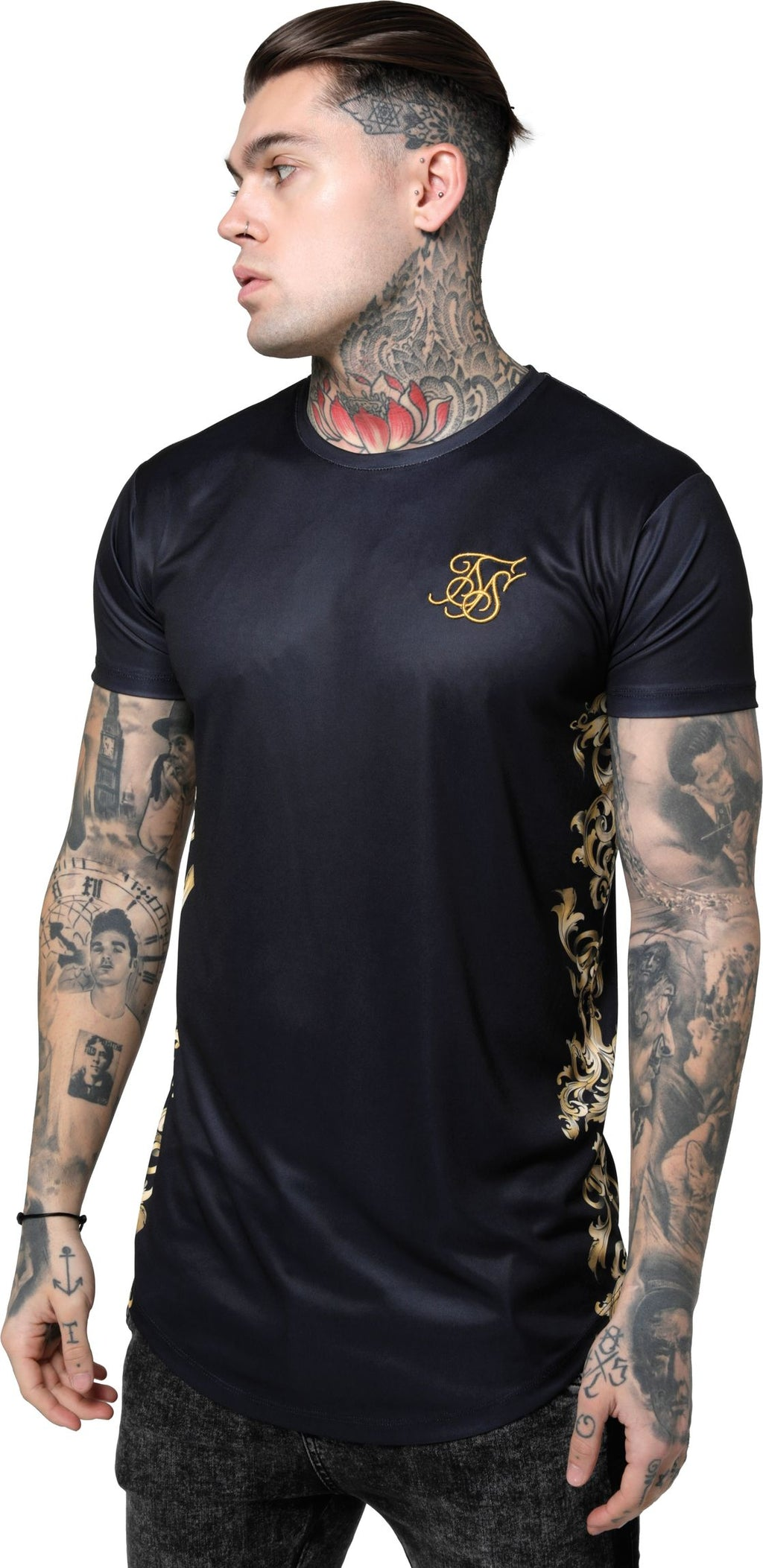 Sik Silk Curved Hem T-Shirt Black