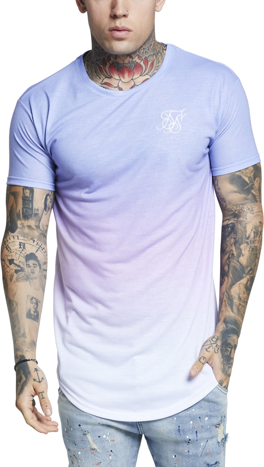 Sik Silk Curved Hem Triple Fade T-Shirt Blue