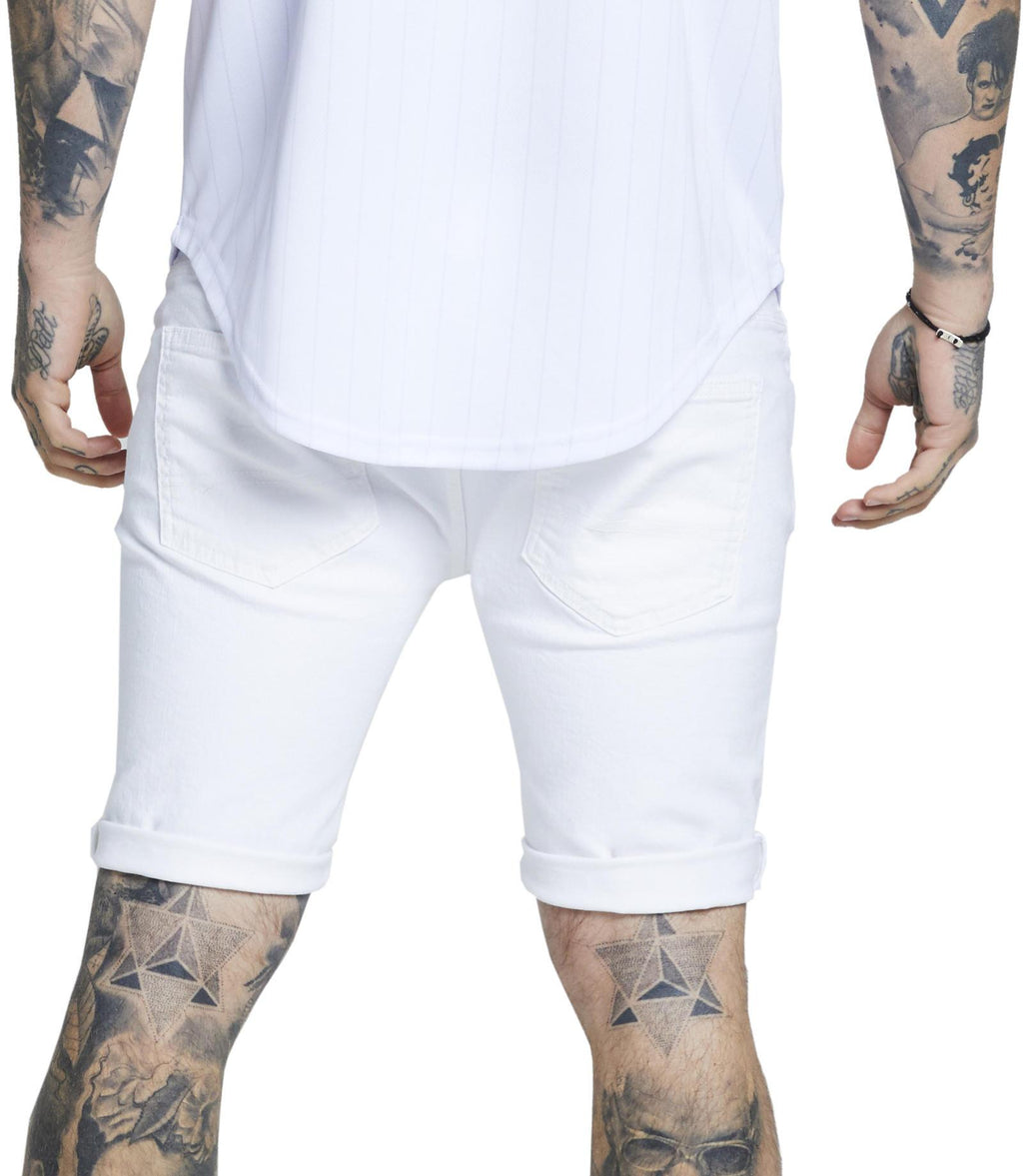 Sik Silk Distressed Skinny Fit Denim Shorts White