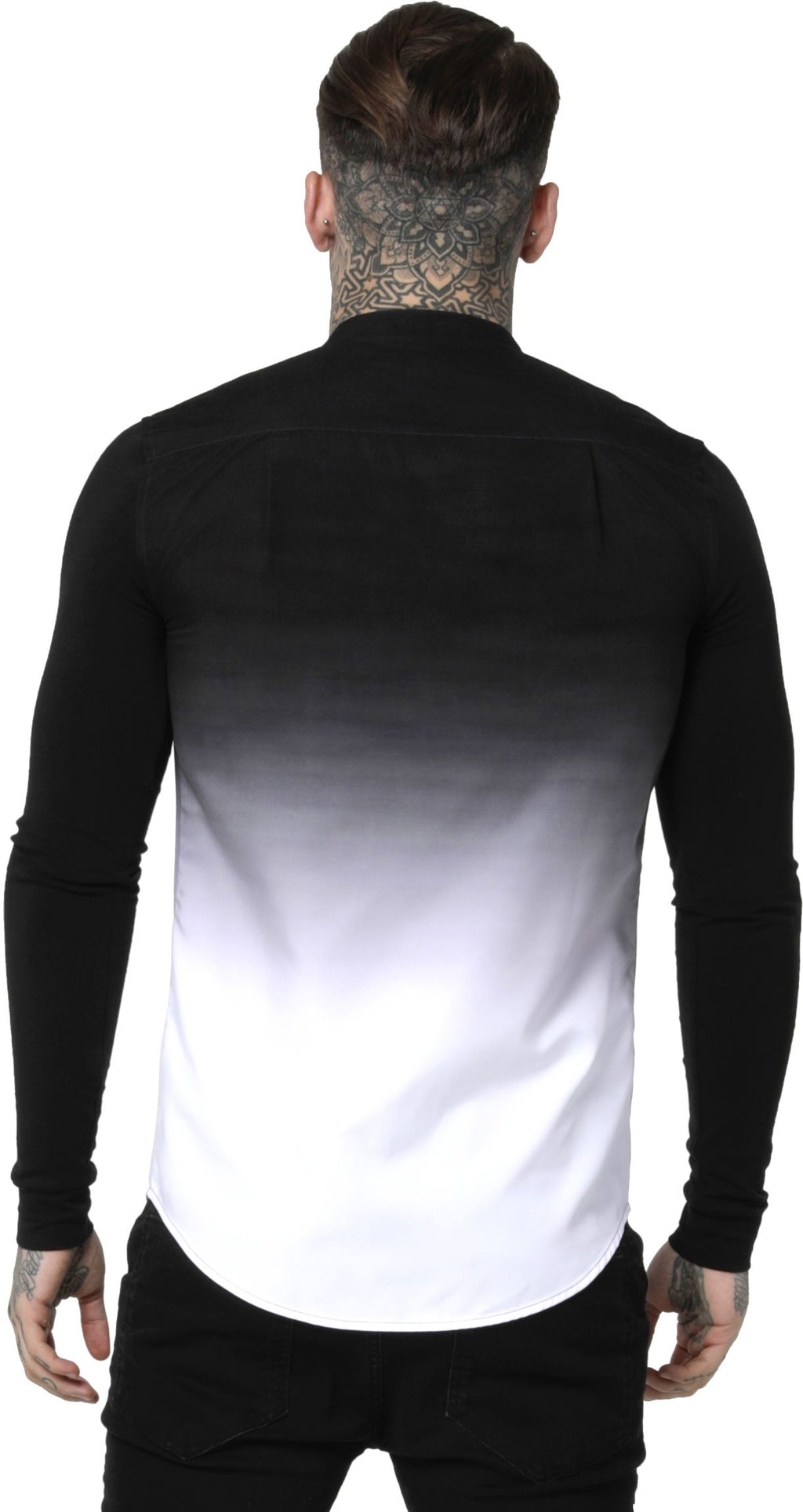 Sik Silk Fade Grandad Long Sleeve Shirt Black