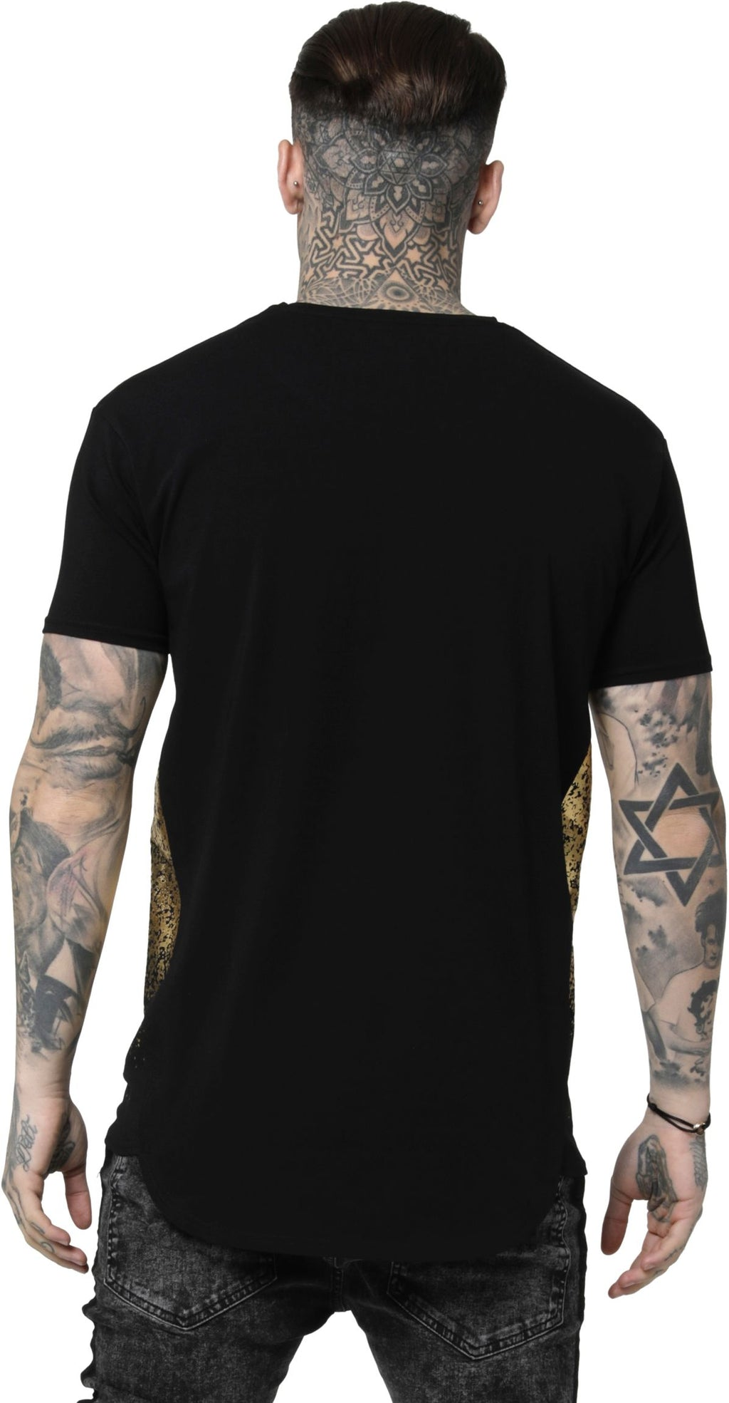 Sik-Silk-Foil-Fade-Panel-T-Shirt-Black