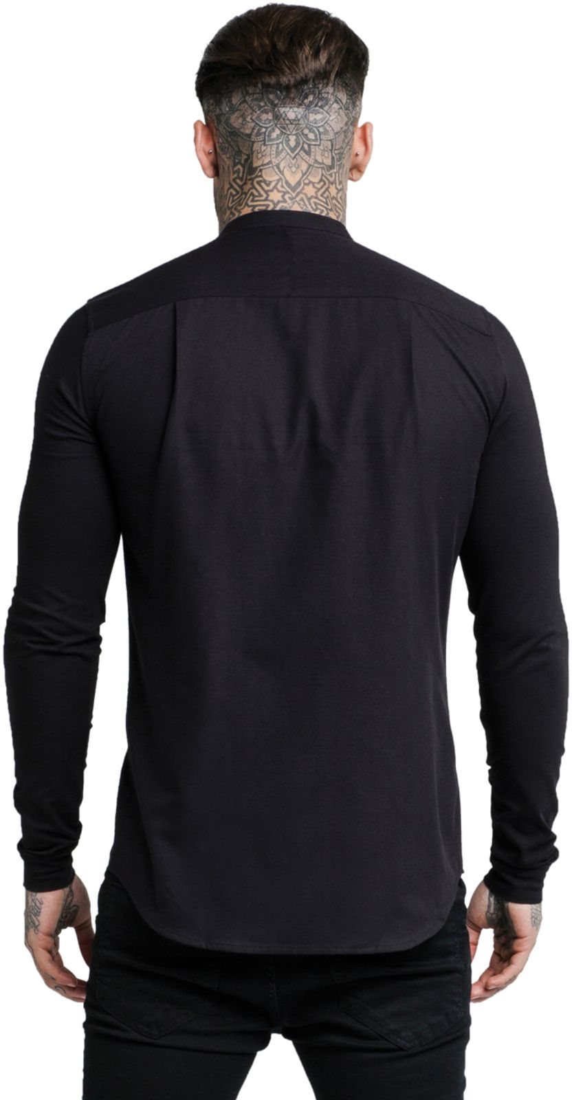 Sik Silk Grandad Long Sleeve Shirt Black