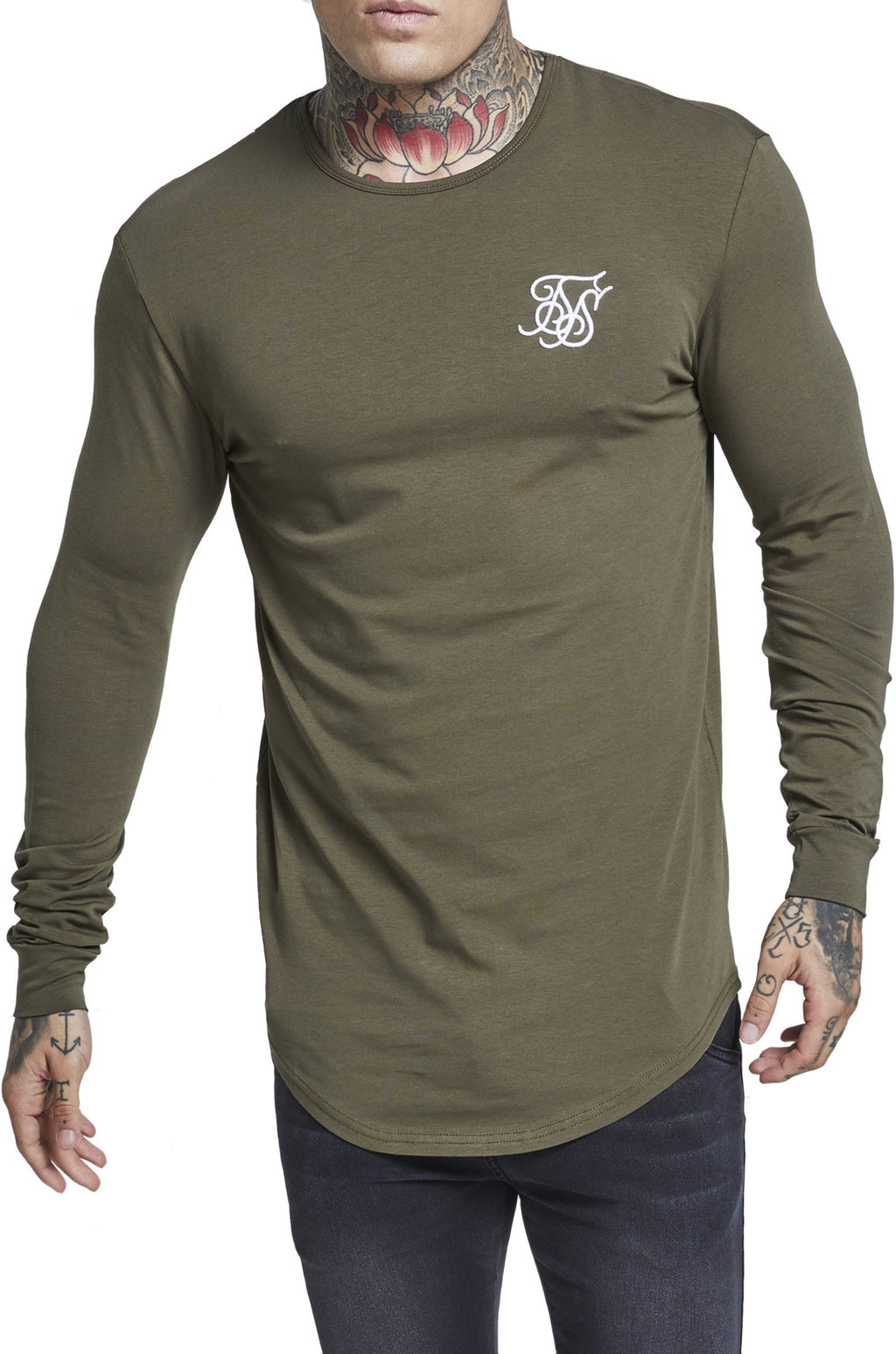 Sik Silk Long Sleeve Gym T-Shirt Khaki