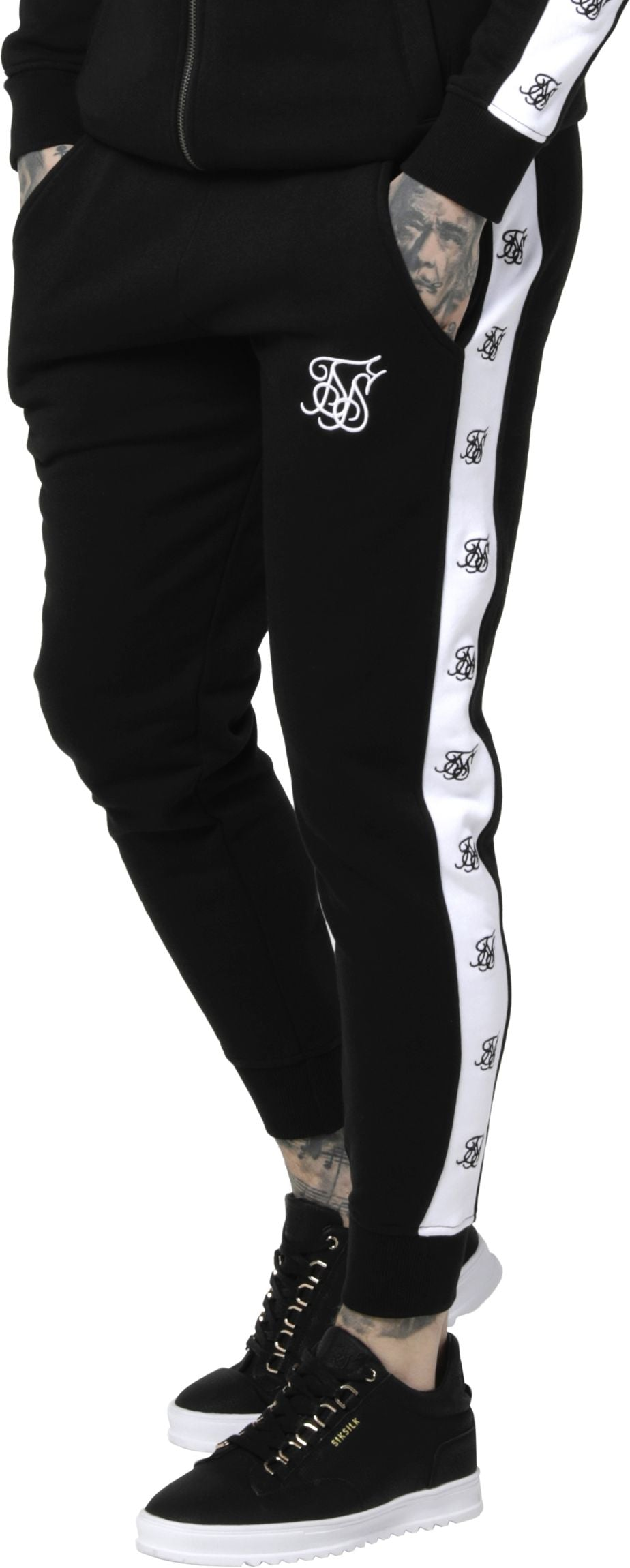 Sik-Silk-Muscle-Fit-Jogger-Bottoms-Black