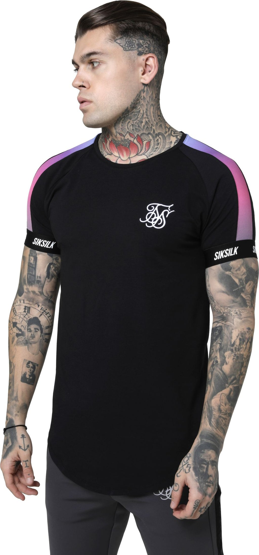 Sik Silk Raglan Panel Fade Tech T-Shirt