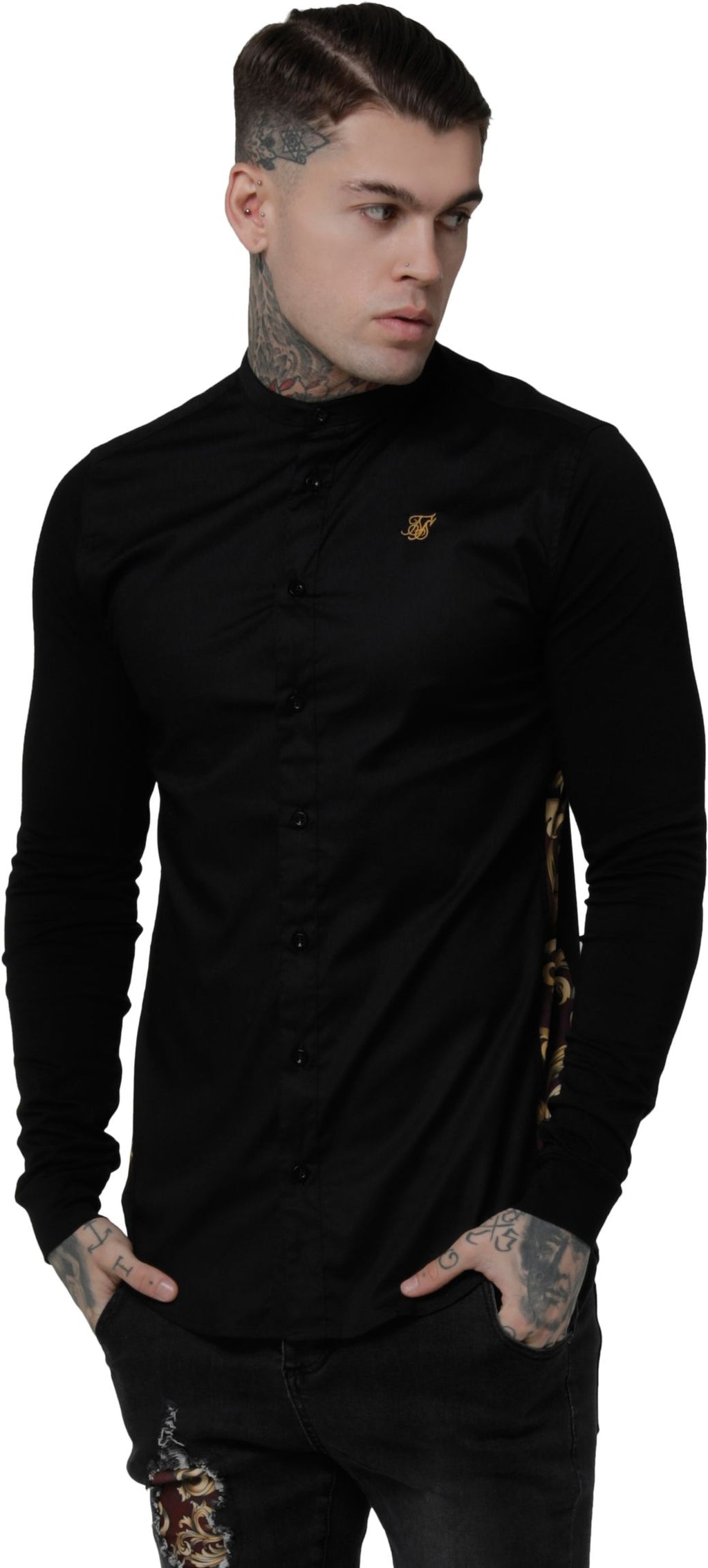 Sik Silk Royal Venetian Muscle Fit Grandad Long Sleeve Shirt Black