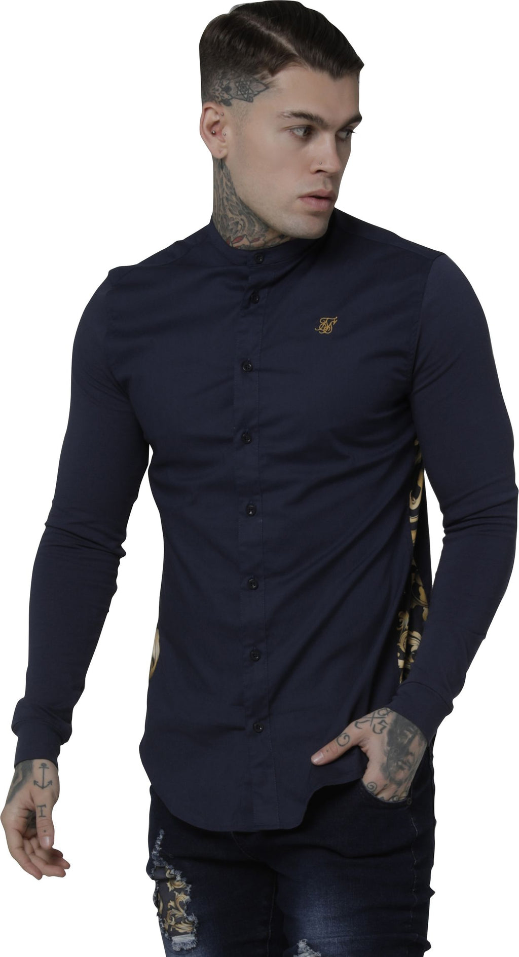 Sik Silk Royal Venetian Muscle Fit Grandad Long Sleeve Shirt Navy