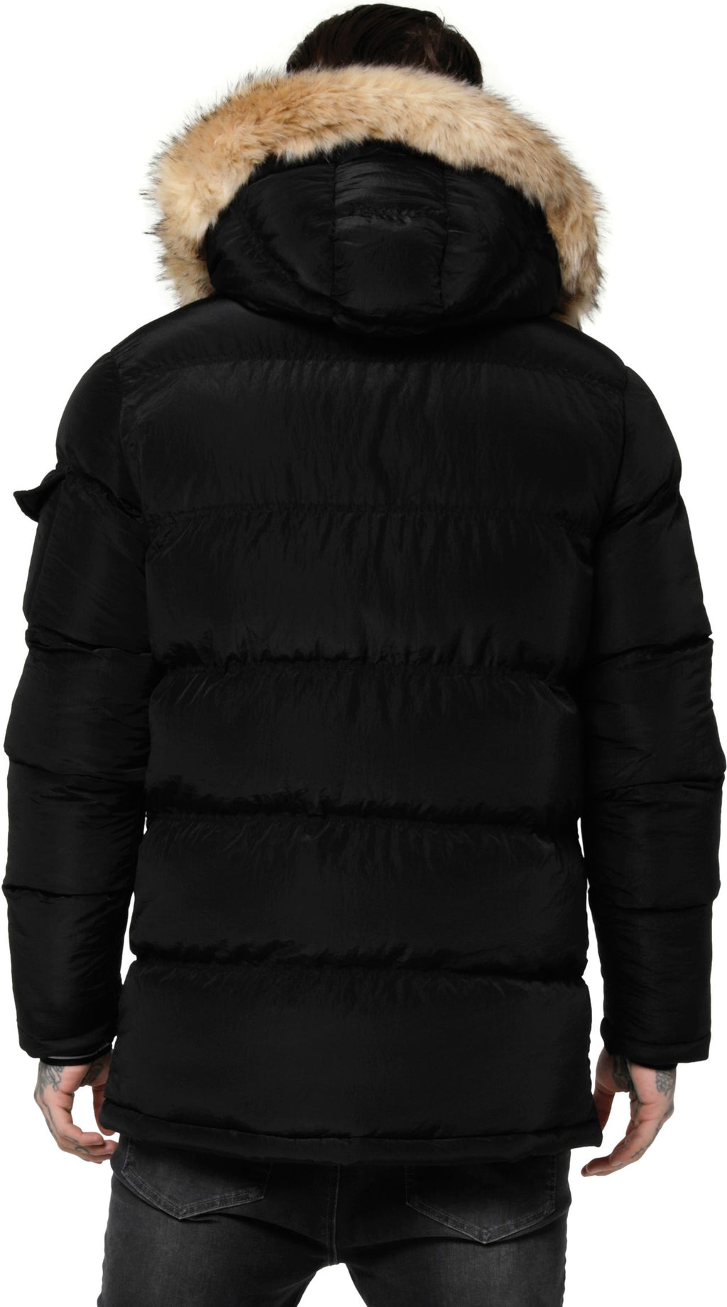 Sik Silk Shiny Puff Parka Jacket Black