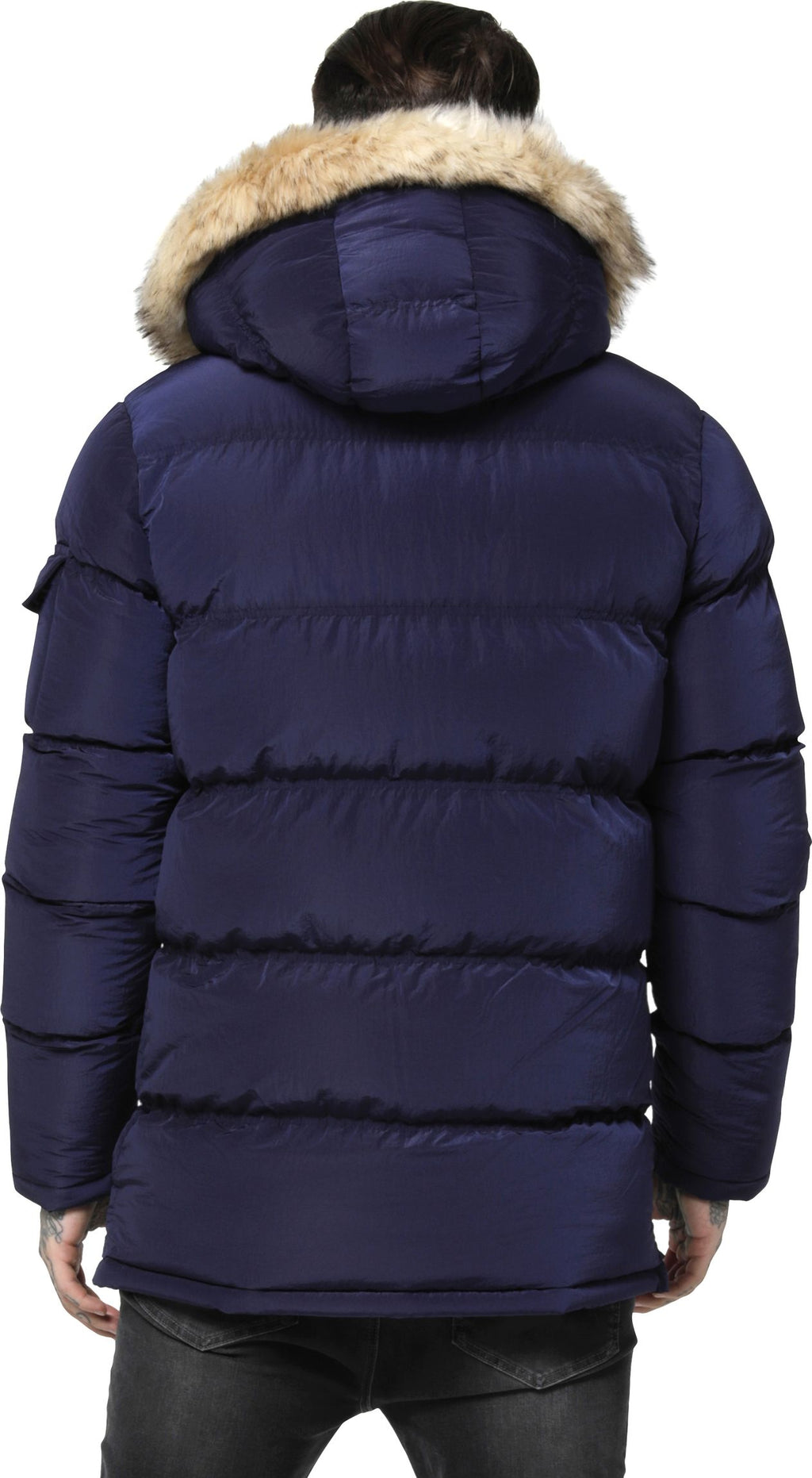 Sik Silk Shiny Puff Parka Jacket Navy