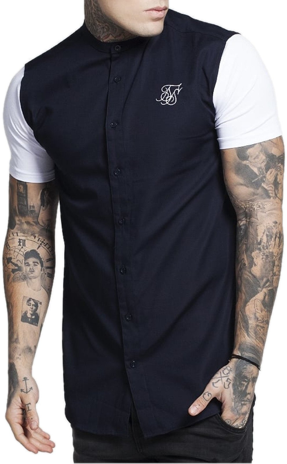 Sik Silk Short Sleeve Shirt with Contrast Jersey Sleeves Navy Navy