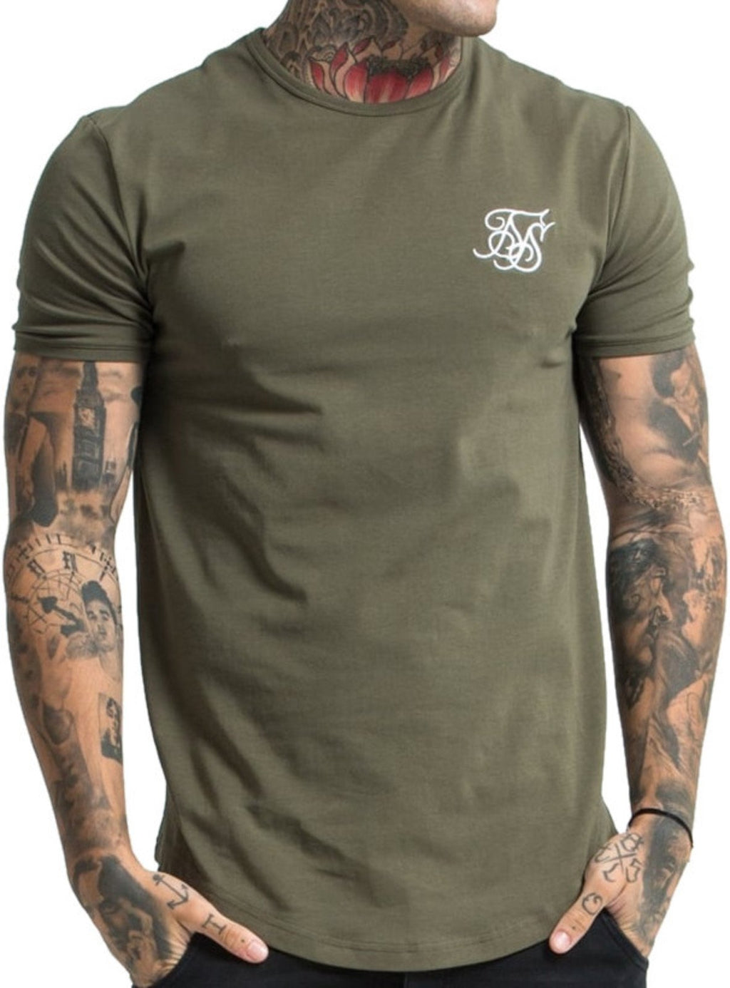Sik Silk Short Sleeve Gym T-Shirt Khaki