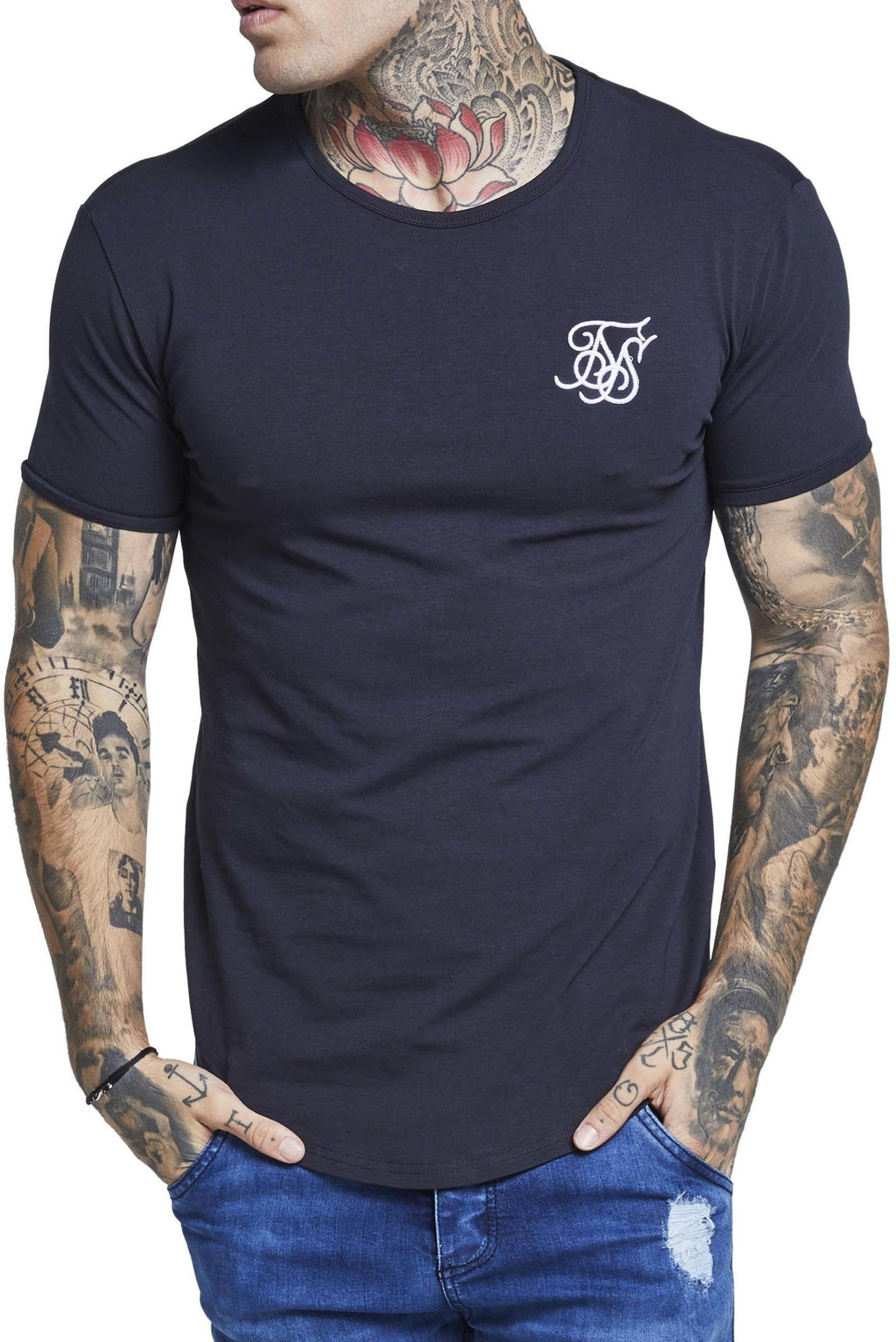 Sik Silk Short Sleeve Gym T-Shirt Navy