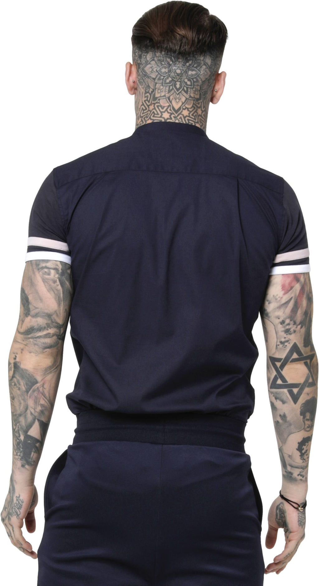 Sik Silk Sprint Short Sleeve Grandad Shirt Navy