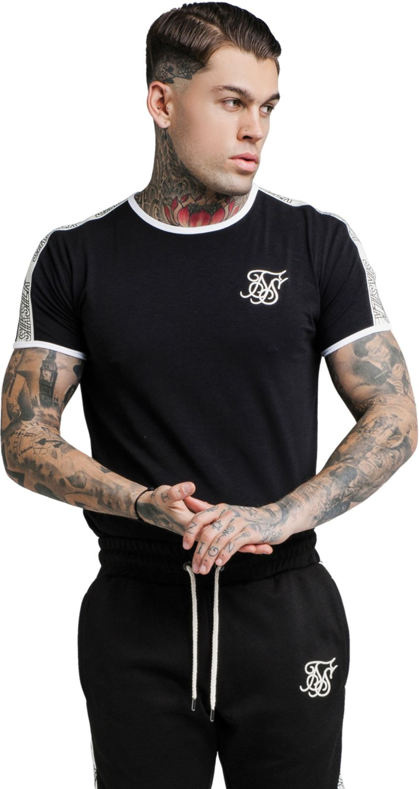 Sik Silk Taped Runner T-Shirt Black
