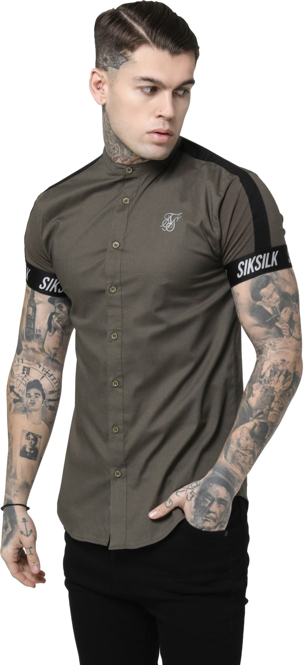 Sik Silk Tech Tape Grandad Short Sleeve Shirt Khaki
