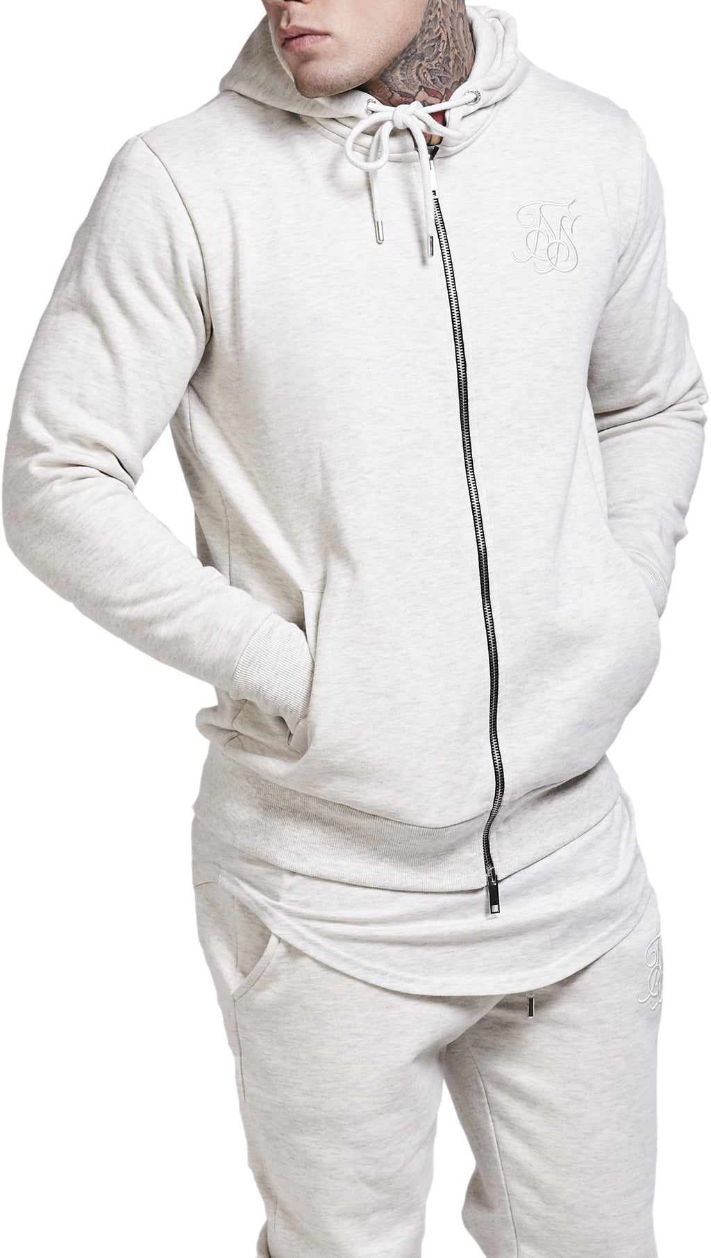 Sik Silk Zip Front Sweat Hoodie Off-White