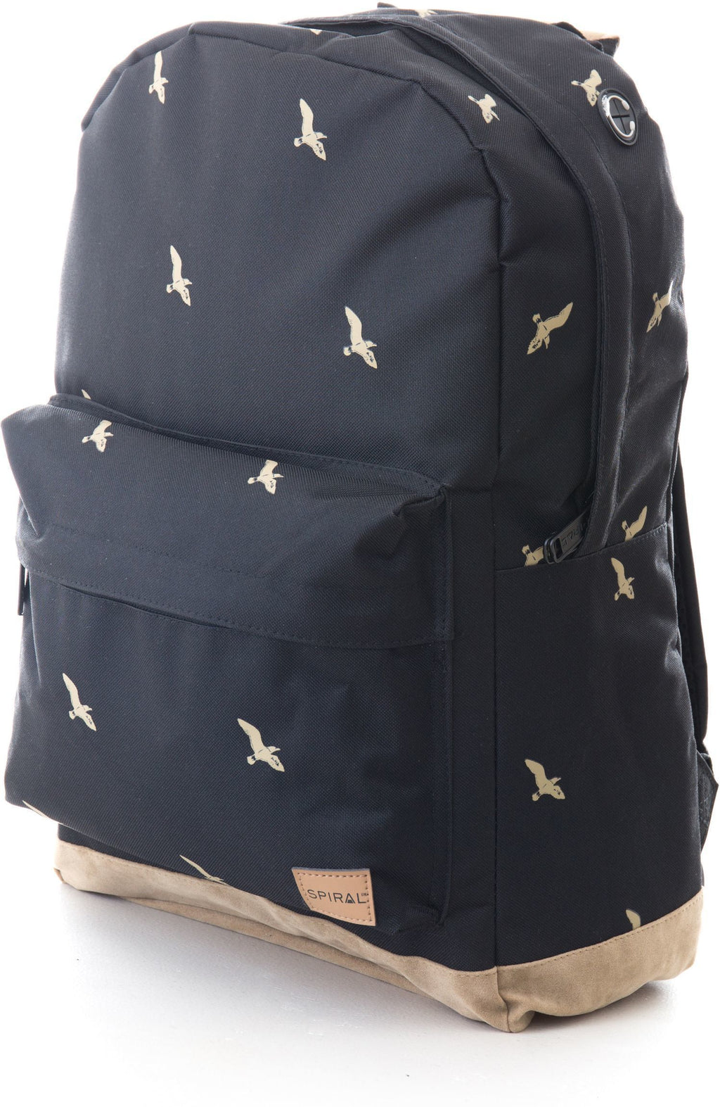 Spiral Bird Print OG Backpack Rucksack Bag Black