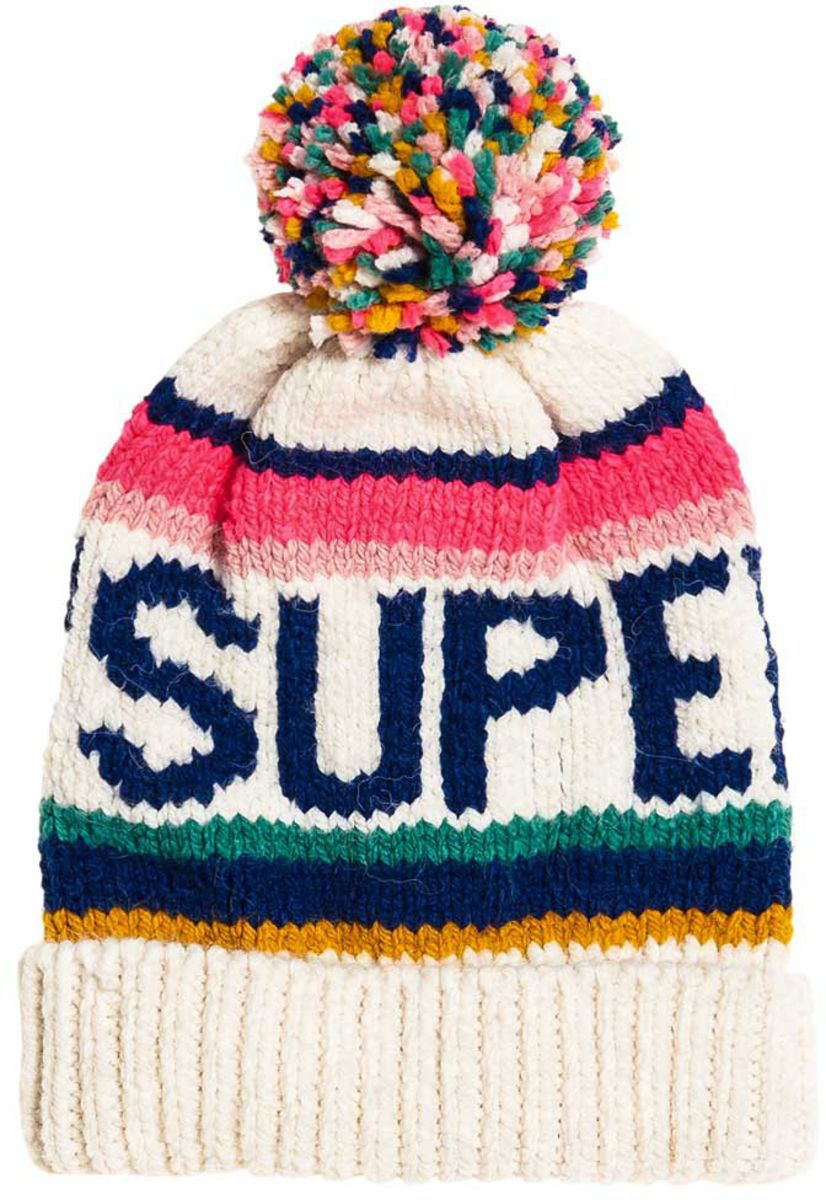 Superdry 90s Nostalgia Logo Bobble Beanie Hat Off-White