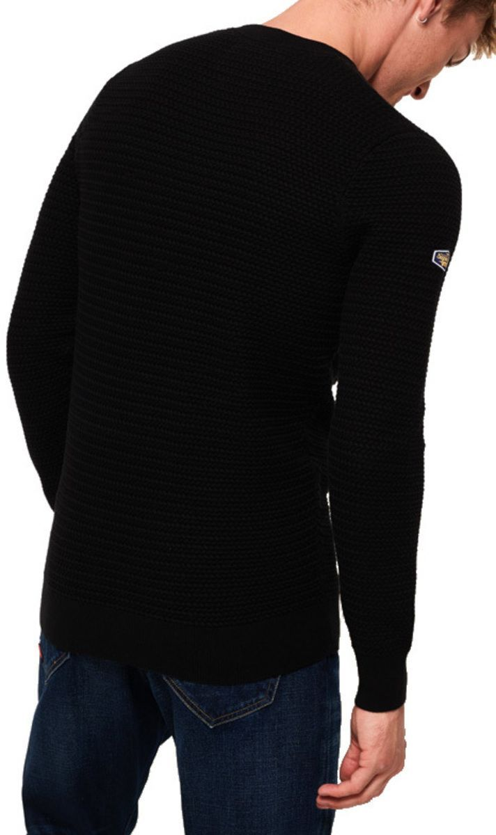 Superdry Academy Textured Knit Jumper Black