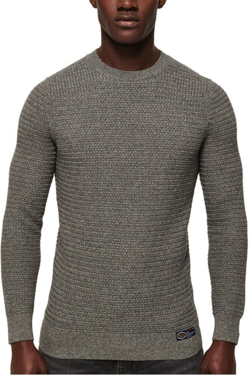 Superdry Academy Textured Knit Jumper Charcoal